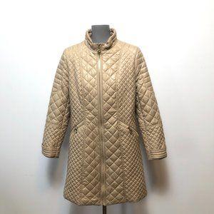 Via Spiga Quilted Cream Zip Up Jacket